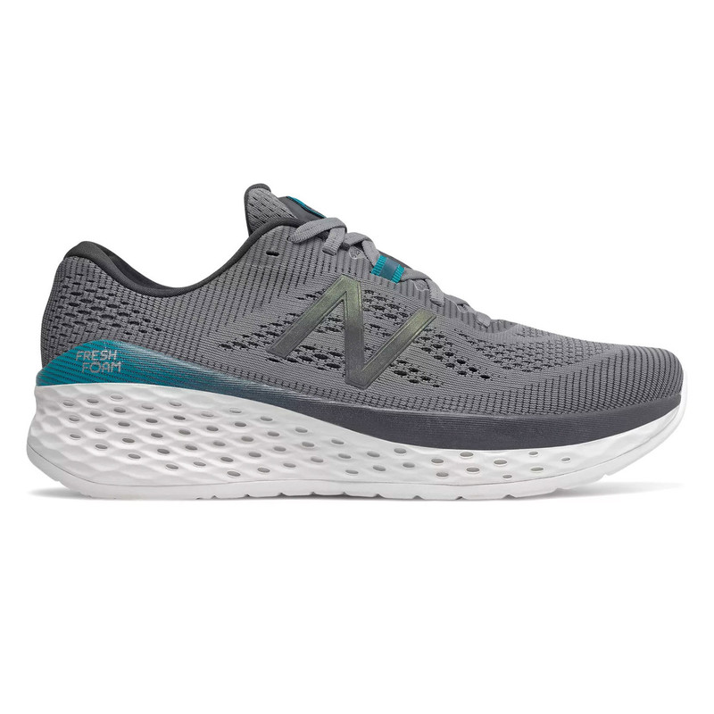 New Balance Men's Fresh Foam More - Gunmetal with Lead & Deep Ozone Blue - MMORDO - Profile