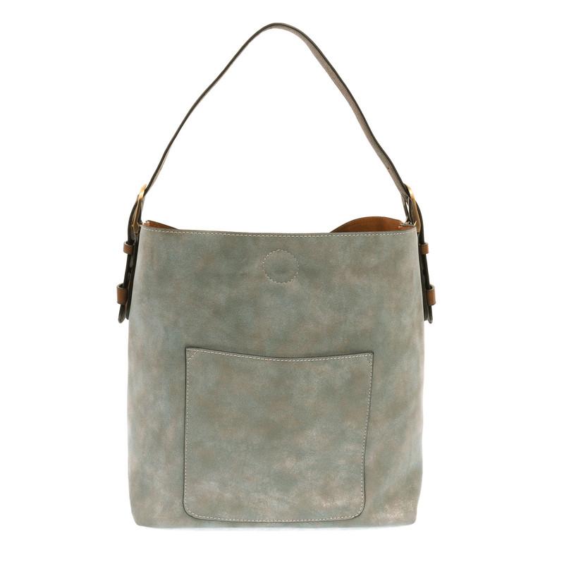 Joy Susan Lux Hobo Handbag - Mineral Blue / Coffee - L8037-06 - Profile