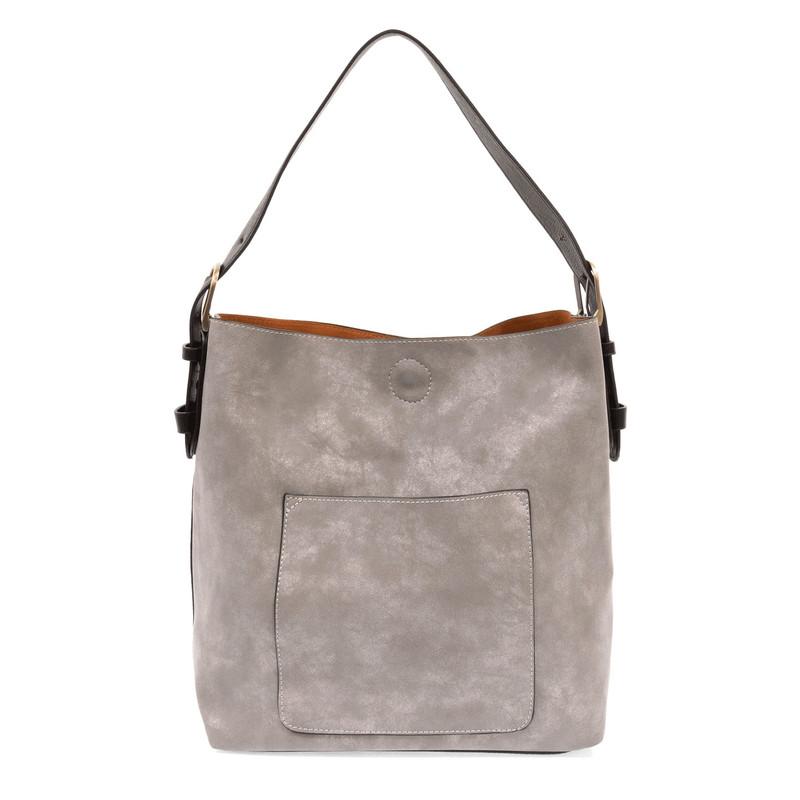 Joy Susan Lux Hobo Handbag - Storm Grey / Black - L8037-10 - Profile
