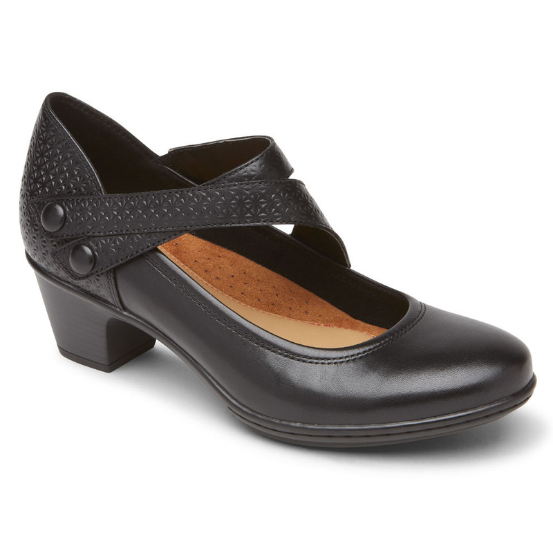 Rockport Cobb Hill Women's Kailyn Asymmetrical Mary Jane - Black - CH6192 - Angle