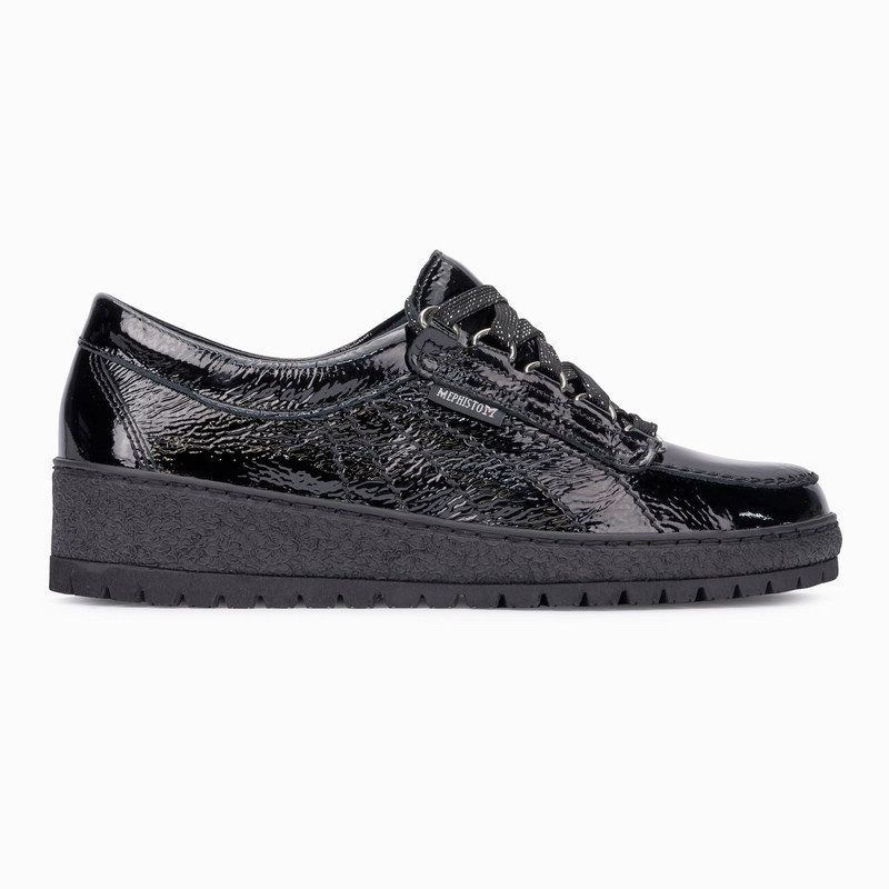 Mephisto Women's Lady - Black Crinkle Patent - LADY1000 - Profile