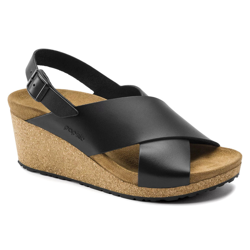 Birkenstock Papillio Women's Samira Wedge Sandal - Black Leather - 1015830 - Main