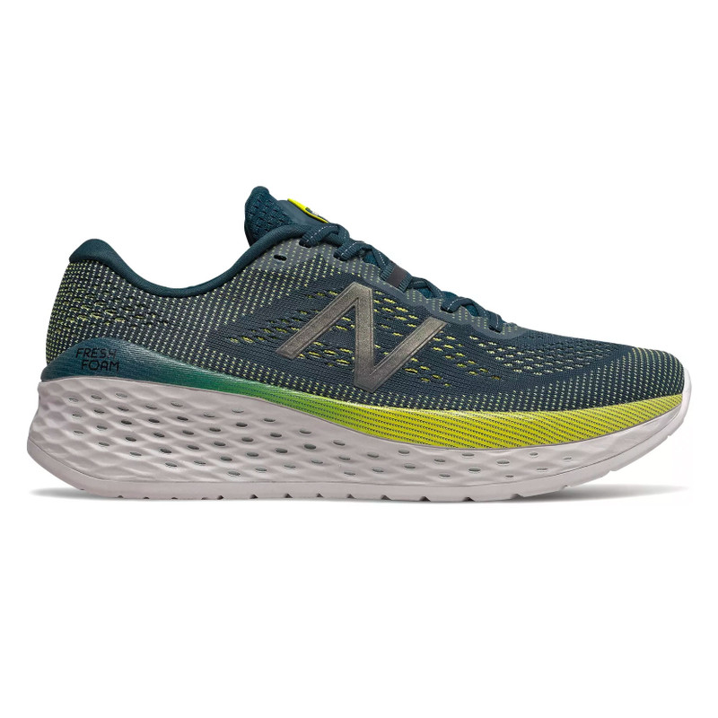 New Balance Women's Fresh Foam More - Supercell with Orion Blue & Sulphur Yellow - MMORCB - Profile