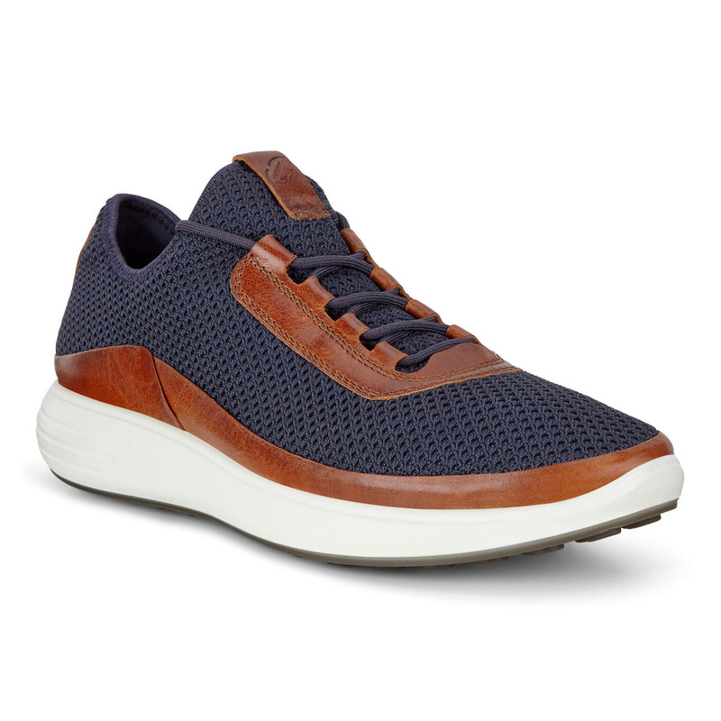 ECCO Men's Soft 7 Runner Mesh Sneakers - Amber / Marine - 460674-51983 - Angle