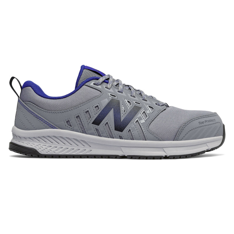 New Balance Men's 412 Alloy Toe - Grey with Royal Blue - MID412G1 - Profile