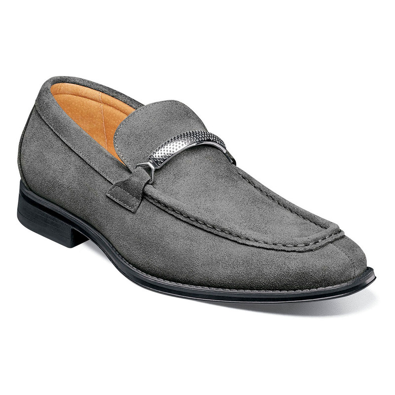 Stacy Adams Men's Pasqual Moc Toe Bit Slip-On - Gray Suede - 25332-061 - Angle
