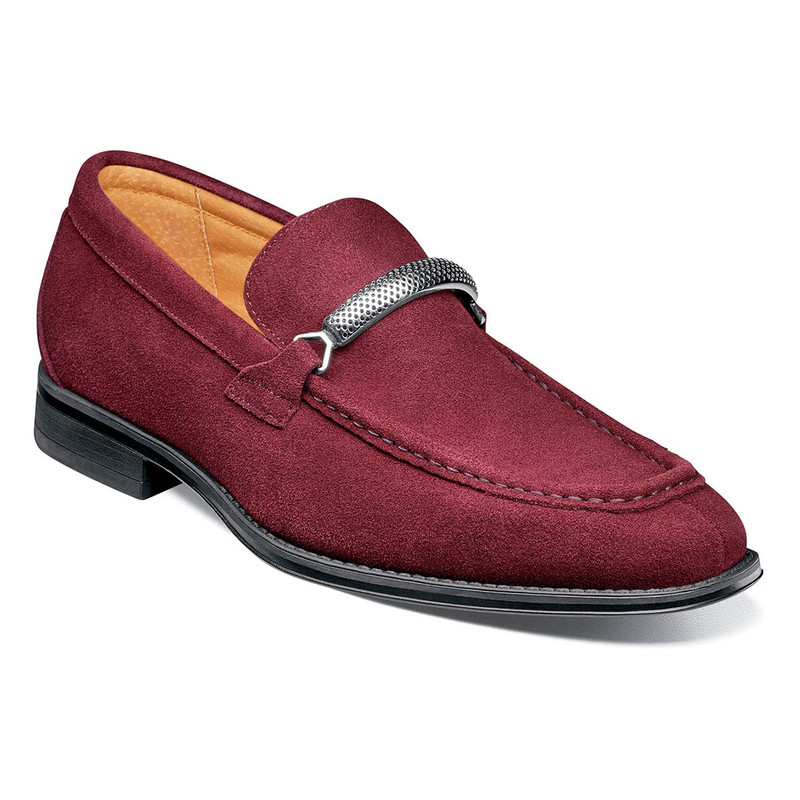 Stacy Adams Men's Pasqual Moc Toe Bit Slip-On - Oxblood Suede - 25332-603 - Angle