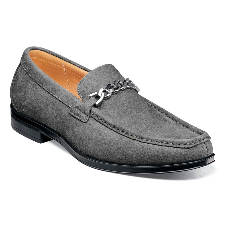 Stacy Adams Men's Norwood Moc Toe Bit Slip-On - Gray Suede - 25333-061 - Angle