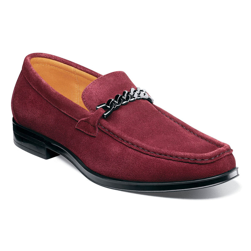 Stacy Adams Men's Norwood Moc Toe Bit Slip-On - Oxblood Suede - 25333-603 - Angle