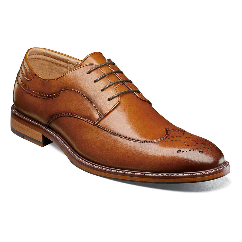 Stacy Adams Men's Fletcher Wingtip Oxford - Cognac - 25303-221 - Angle