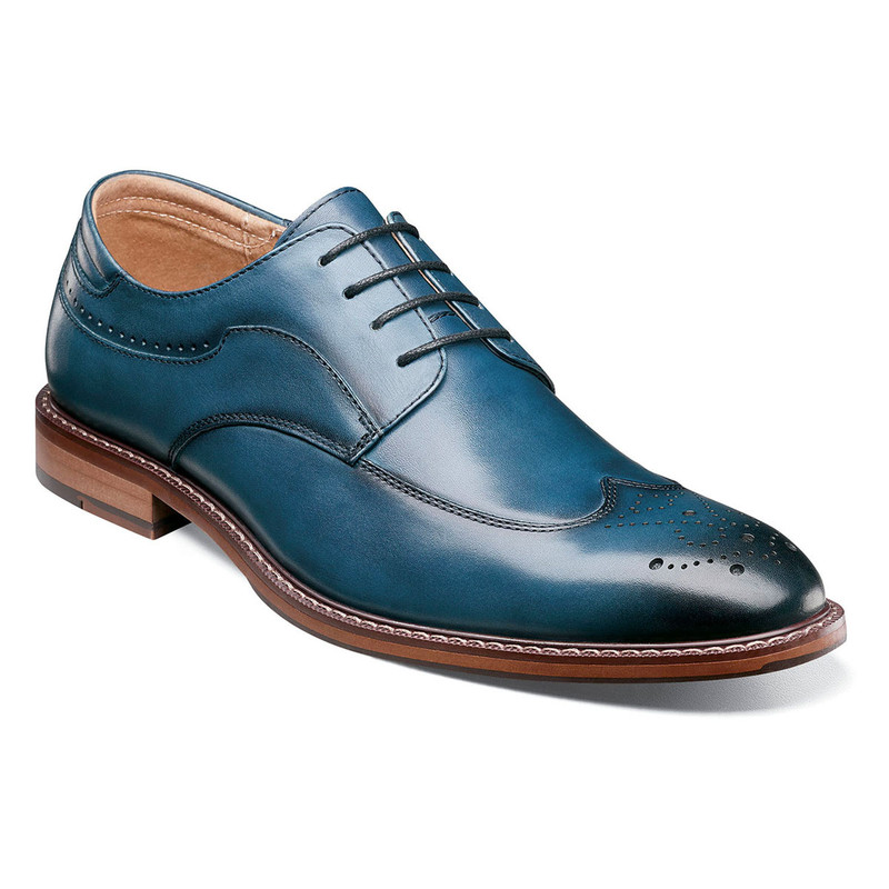 Stacy Adams Men's Fletcher Wingtip Oxford - Indigo - 25303-401 - Angle