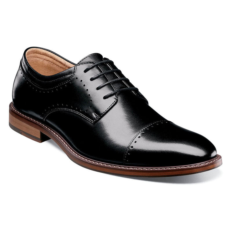Stacy Adams Men's Flemming Cap Toe Oxford - Black - 25304-001 - Angle