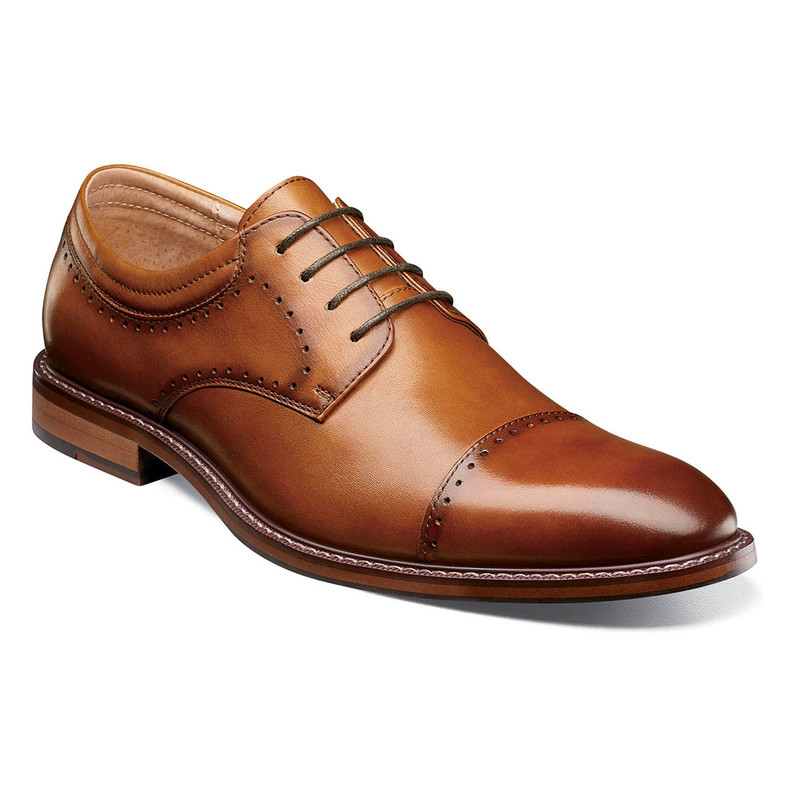Stacy Adams Men's Flemming Cap Toe Oxford - Cognac - 25304-221 - Angle