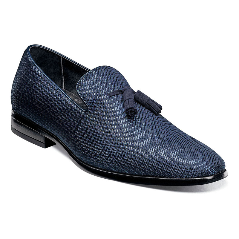 Stacy Adams Men's Tazewell Plain Toe Tassel Slip-On - Navy - 25343-410 - Angle