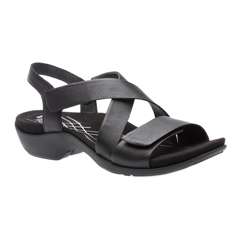 Abeo Women's Norma - Black Leather (Neutral Footbed) - NORMA-N-BLACK - Angle