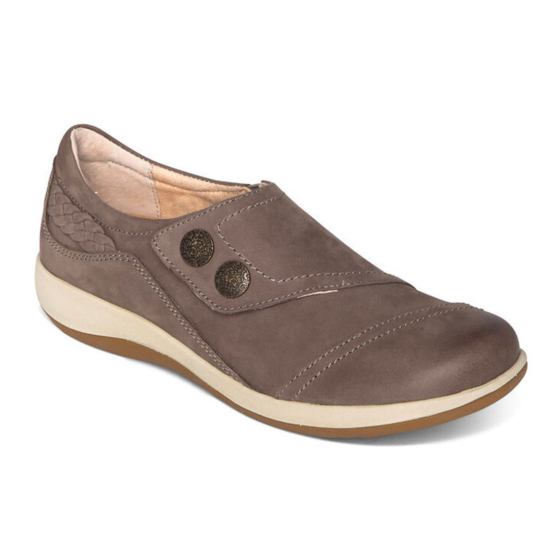 Aetrex Women's Karina Monk Strap - Warm Grey - DM506 - Angle