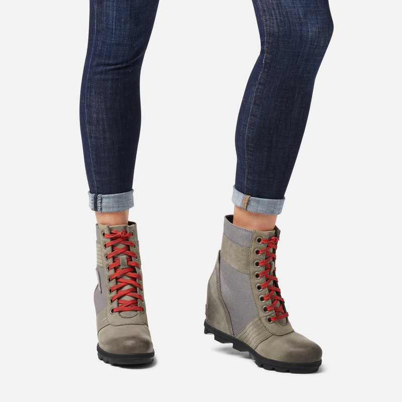 Sorel Lexie Leather Hidden Wedge Lace Up Booties