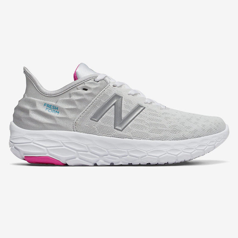 New Balance Women's Fresh Foam Beacon v2 - White with Summer Fog & Bayside - WBECNLP2 - Profile