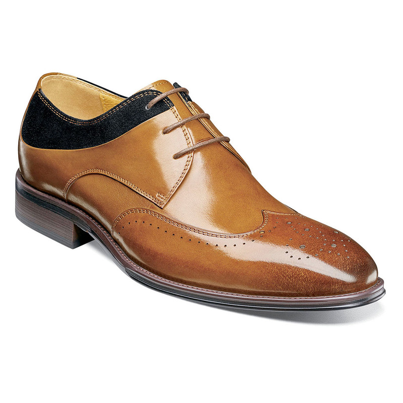 Stacy Adams Men's Hewlett Wingtip Oxford - Tan Multi - 25314-238 - Angle