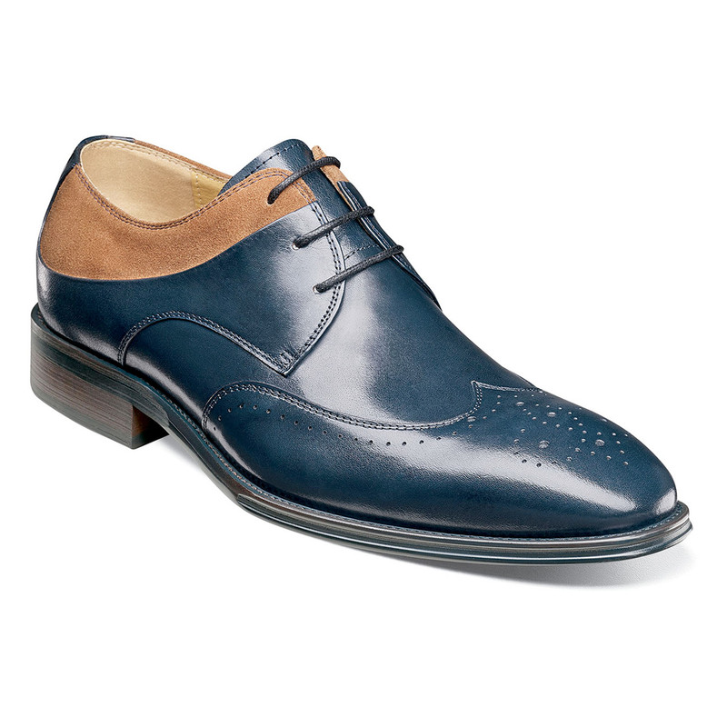 Stacy Adams Men's Hewlett Wingtip Oxford - Navy Multi - Angle