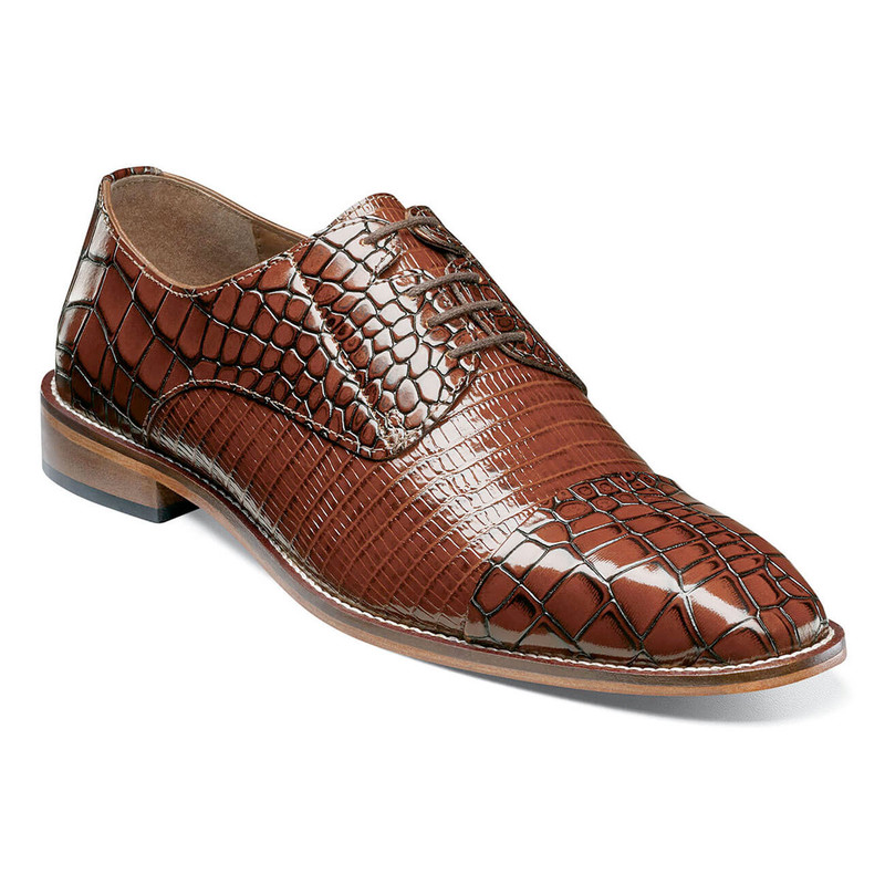 Stacy Adams Men's Talarico Leather Sole Cap Toe Oxford - Cognac - 25321-221 - Angle