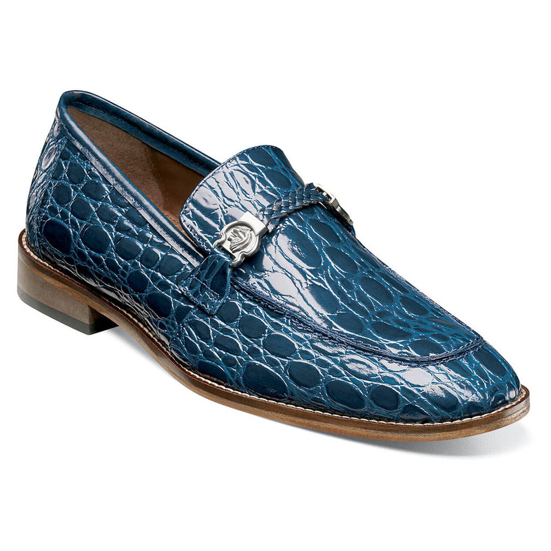 Stacy Adams Men's Bellucci Leather Sole Moc Toe Bit Slip-On - Blue - 25322-400 - Angle