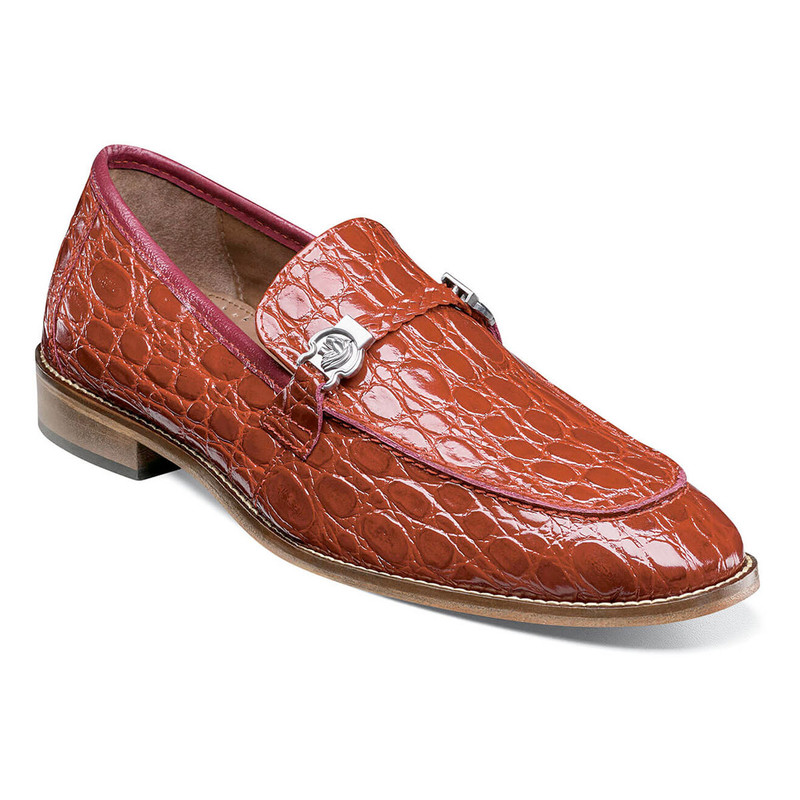 Stacy Adams Men's Bellucci Leather Sole Moc Toe Bit Slip-On - Red - 25322-600 - Angle