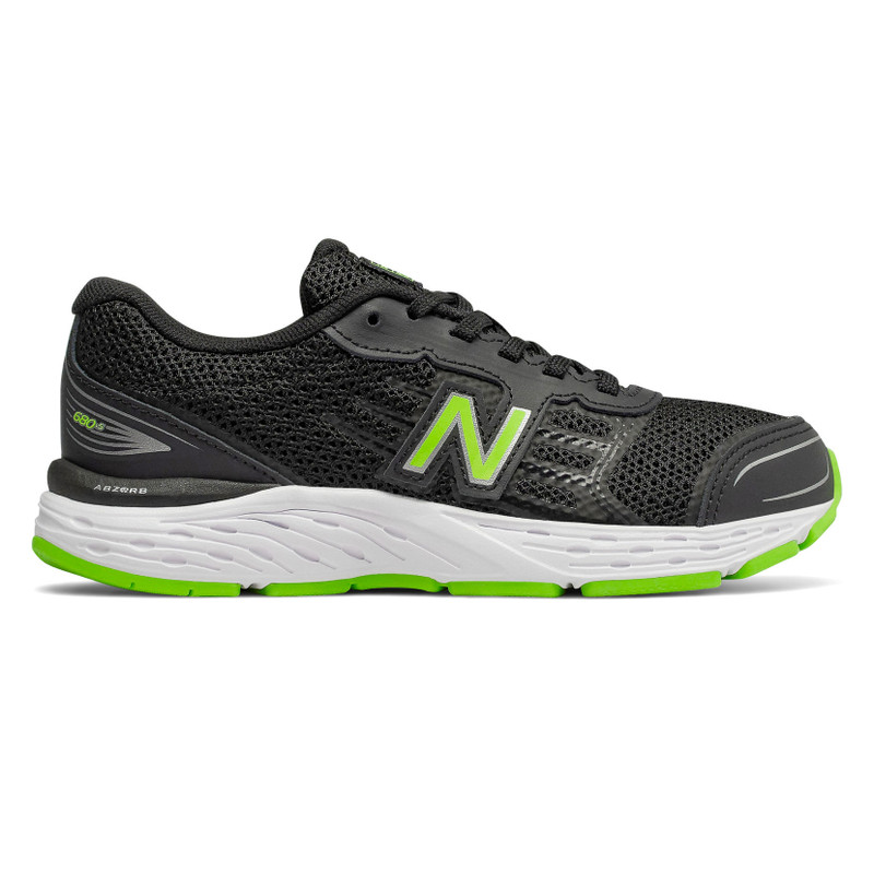 New Balance Kid's 680v5 - Black with RGB Green - YP680BG - Profile