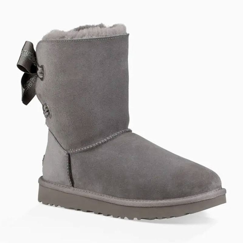 UGG Women's Customizable Bailey Bow Short Boot - Charcoal - 1098075CHRC - Angle