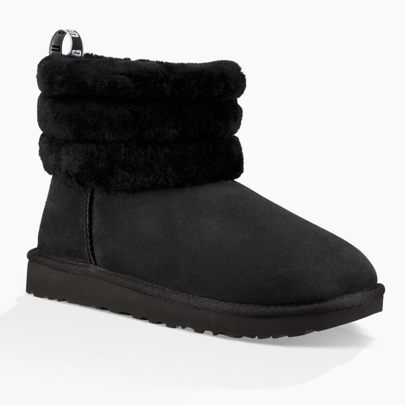 UGG Women's Classic Mini Fluff Quilted Boot - Black - 1098533BLK - Main