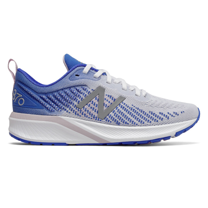 New Balance Women's 870v5 - White with Vivid Cobalt & Oxygen Pink - W870WB5 - Profile