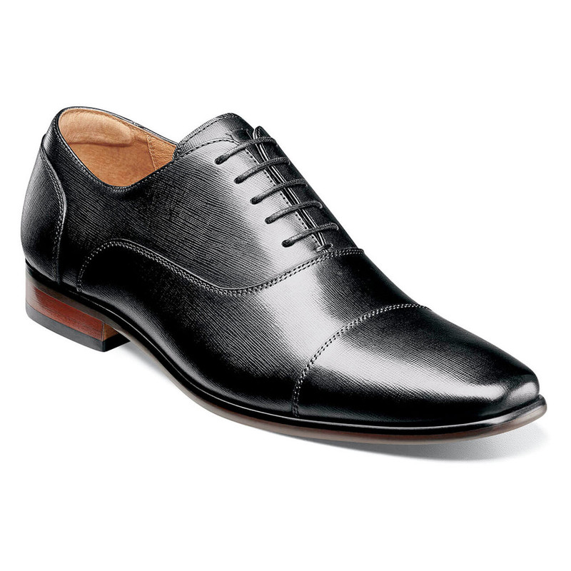 Florsheim Men's Postino Cap Toe Balmoral Oxford - Black - 15175-001 - Angle