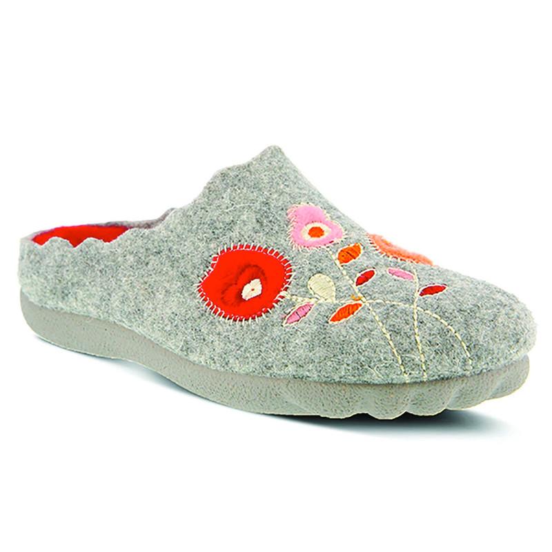 Spring Step Women's Wildflower Slipper - Grey - WILDFLOWER/GRY - Angle
