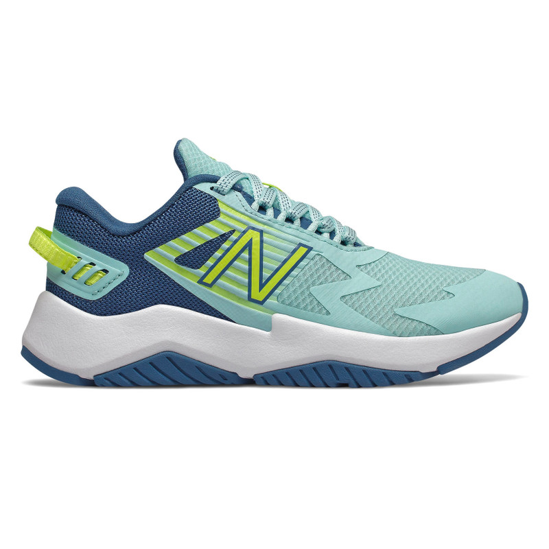 New Balance Grade School Rave Run - Bali Blue / Mako Blue / Lemon Slush - YKRAVLK1 - Profile