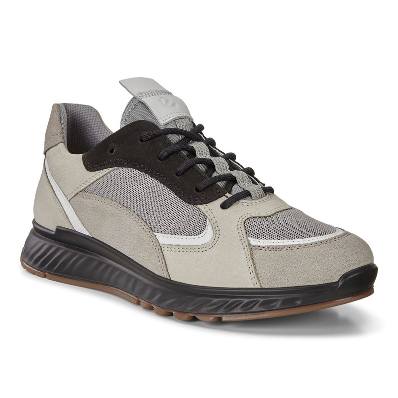 ECCO Women's ST.1 Sneaker - Moon Rock / White / Gravel / Black - 836273-51560 - Angle