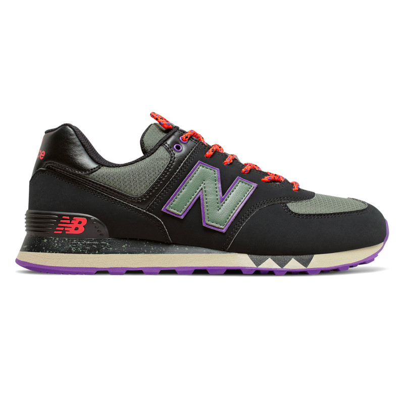 New Balance 574 Men's Classics - Black with Slate Green - ML574NFQ - Profile