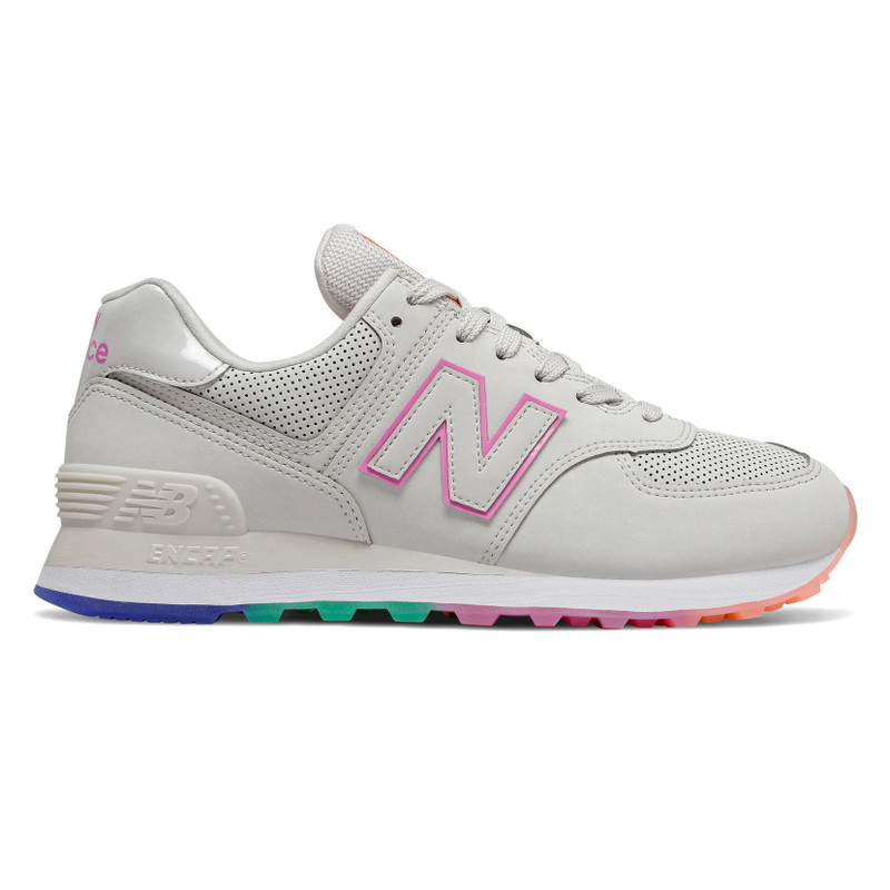 New Balance Women's 574 Outer Glow - Linen Fog with Candy Pink - WL574SOL - Profile