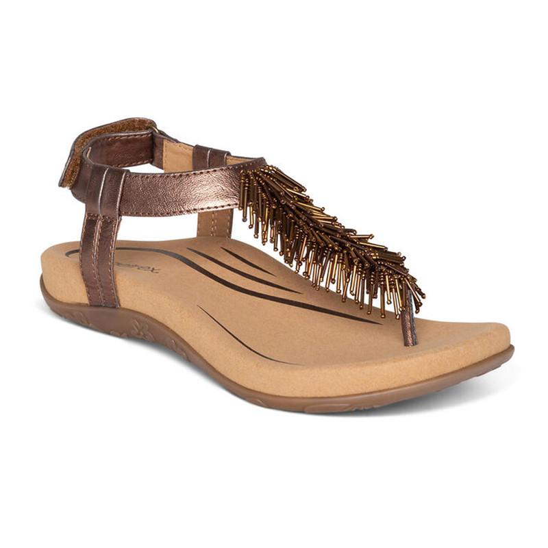 Aetrex Women's Portia Fringe Sandal - Bronze - SE394W - Main