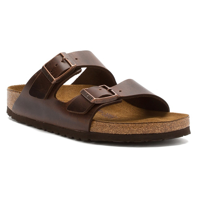 Birkenstock Arizona Soft Footbed - Brown Amalfi Leather (Regular Width) - 552341 - Angle