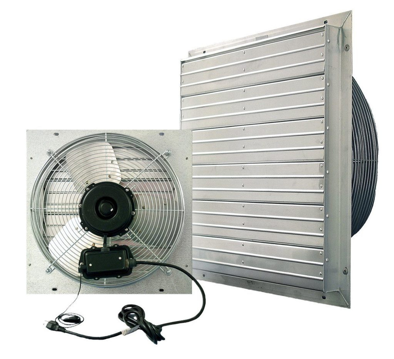 J&D Manufacturing Exhaust Fan VPES Shutter Fan Pre-Wired No Electrician Required