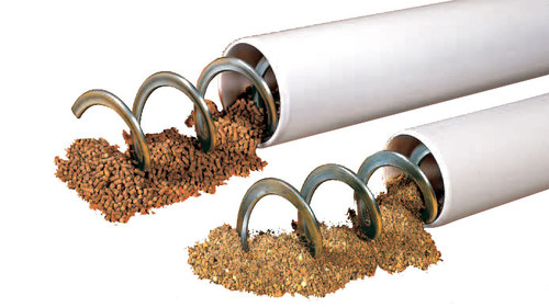 FLEX-vey Auger Customizable auger fill system The FLEX-vey auger fill system allows a truly custom system to meet specific application needs. With a wide selection of basic components, and our ability to design custom solutions, you can have the most efficient and cost effective system delivering feed to your flocks for years of trouble free operation.  FLEX-vey offers the versatility of using single or tandem bin installations, and can provide single, double or triple systems into the house. Whatever your fill system needs, FLEX-vey offers the right combination for you.  Important Advantages Carry feed from feed tanks to the house, moving up to 17,000 lbs. (7,700 kg) of feed per hour Single or tandem bin installations and can be built as single or double systems Customized to meet your needs High quality and extremely flexible spring steel Feed can be transported into the house around bends of up to 90° safely, quickly and without feed separation Universal application for each type of house Fast and easy assembly