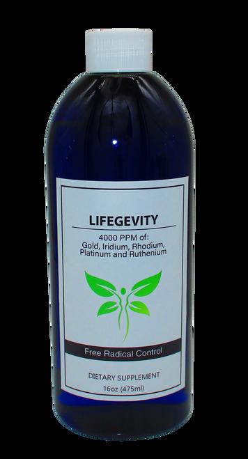 LifeGevity: Colloidal Gold, Iridium, Platinum, Rhodium & Ruthenium 16 Oz Bottle