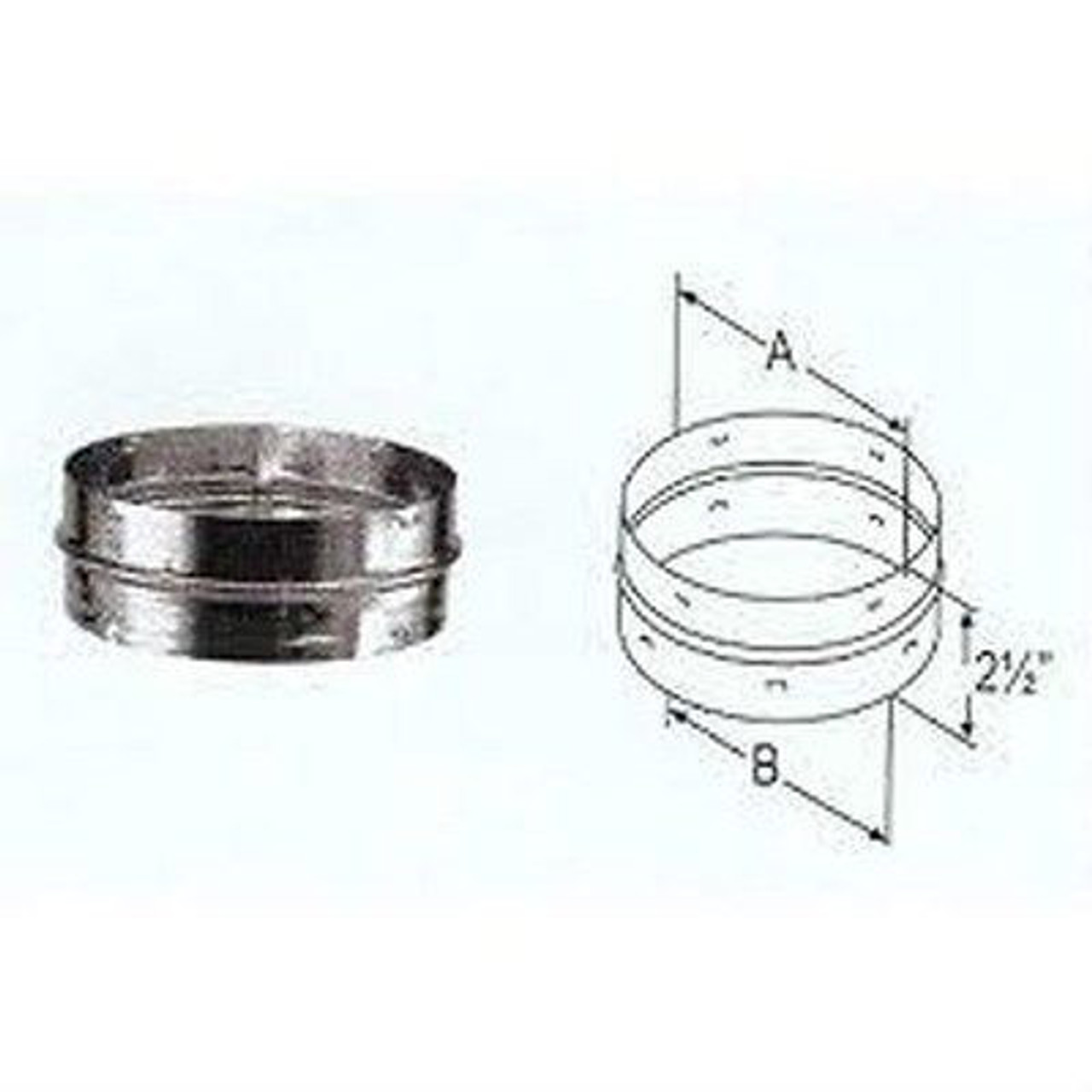 """DuraVent DVL® Double-Wall Stove Pipe ADAPTER With DAMPER 7/"""" Diameter 7DVL-ADWD"""