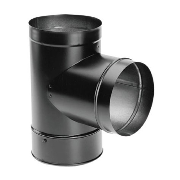 """DuraVent DuraBlack Black Stovepipe 8"""" Tee With Cover 8DBK-T"""