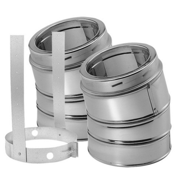 "6"" DuraVent DuraTech 15 Deg Stainless Steel Elbow Kit 6DT-E15KSS"