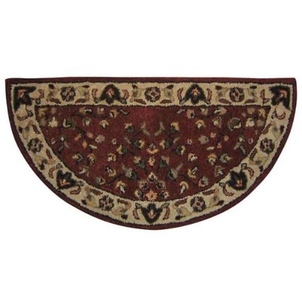 "61144 Woodfield Brick Red Oriental Half-round Rug, Wool, 22"" X 44"""