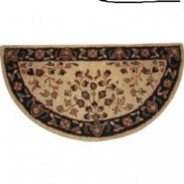"""61145 Woodfield Beige Oriental Half-round Rug, Wool, 22"""" X 44"""""""