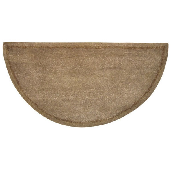 "61142 Woodfield Beige W/border Contemporary Half-round Rug, Wool 22"" X 44"""