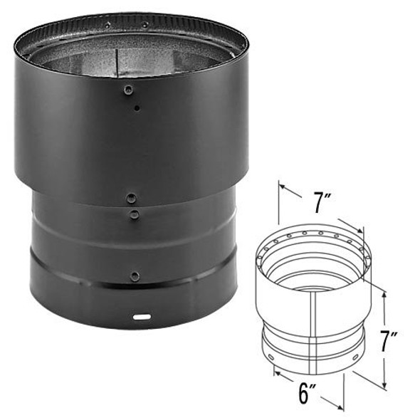 """DuraVent DVL® Double-Wall Stove Pipe 6""""-7"""" Increaser 6DVL-X7"""