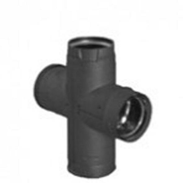 "DuraVent PelletVent Pro 4"" Double Tee with Clean-Out Cap - Black 4PVP-DBTB"